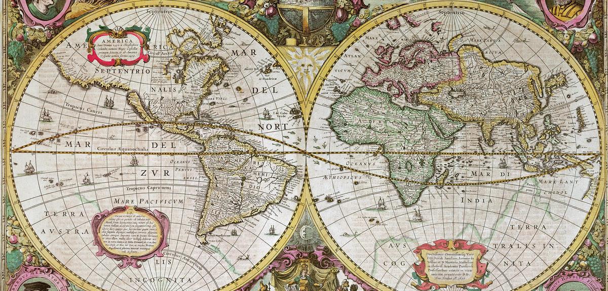 Carte du monde à double hémisphère publiée en 1630 par le cartographe hollandais Henricus Hondius (1597-1651).  ©  COLLECTION ©PRIVEE/BRIDGEMAN IMAGES